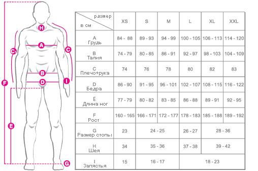 Размерная таблица Sandiline